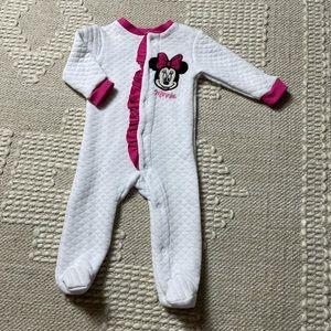 Disney Baby Minnie Mouse White Footie Pajamas 0-3